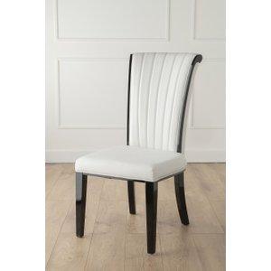 Furntastic Nova White Faux Leather High Back Dining Chair CFSUD 094, White