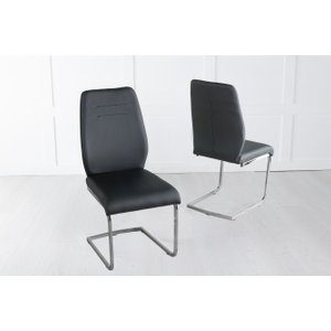 Furntastic Olga Black Faux Leather Swing Dining Chair With Brushed Metal Base Cfsud 814, Black and Chrome