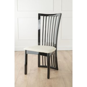 Furntastic Palermo Black Gloss Slatted Back Dining Chair With Grey Seat Pad Cfsud 098, Black and Grey