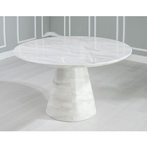 Furntastic Peyton White Marble Round Dining Table Cfsud 699, Grey and White