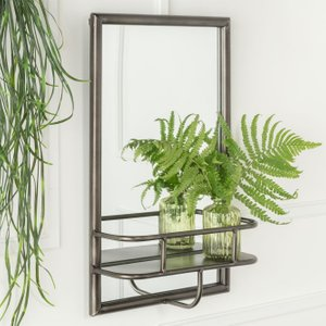 Furntastic Picton Bronze Industrial Rectangular Mirror With Shelf - W 30cm X H 48cm FURNUDGD 092, Bronze