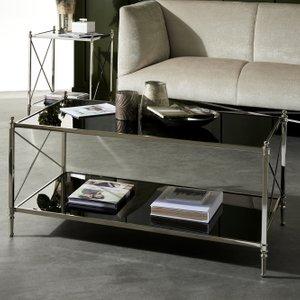Furntastic Plano Black Glass And Nickel Coffee Table Furnudsf 039, Black Glass and Nickel