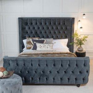 Furntastic Super Star Grey Fabric Upholstered Bed CFSUD 466, Chracoal Grey