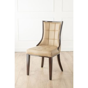 Furntastic Tampa Beige Faux Leather Scoop Back Dining Chair Cfsud 502, Beige