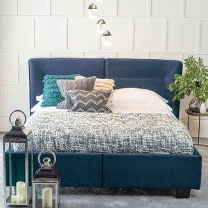 Furntastic Tosca Blue Velvet Fabric Upholstered Bed CFSUD 464, Cobalt Blue