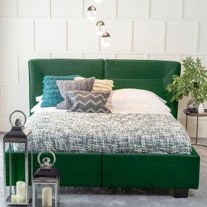 Furntastic Tosca Green Velvet Fabric Upholstered Bed CFSUD 463, Emerald Green