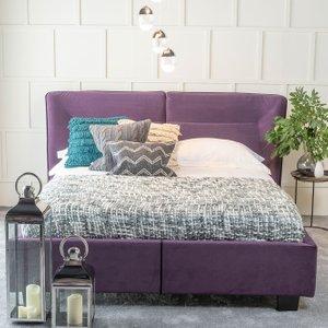 Furntastic Tosca Purple Velvet Fabric Upholstered Bed CFSUD 465, Purple