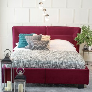 Furntastic Tosca Red Velvet Fabric Upholstered Bed CFSUD 462, Red