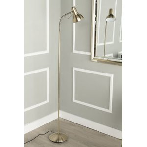 Furntastic Travis Brushed Brass Floor Lamp - W 23cm X D 32cm X H 161cm FURNUDGD 104, Antique Brass