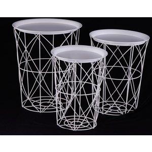 Furntastic Urban Deco White Metal Set Of 3 Tray Tables Cfsud 357, White