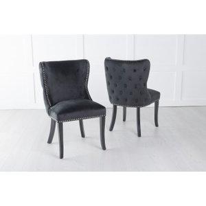 Furntastic Vale Black Velvet Back Tufted Dining Chair With Black Legs Cfsud 844, Black