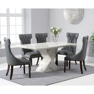 Oak Furniture Superstore Aaron 160cm White Marble Dining Table With Freya Dining Chairs - Cream, 4 Chairs PT30106, Cream