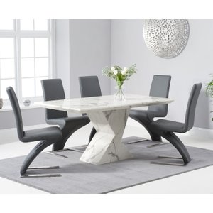 Oak Furniture Superstore Aaron 160cm White Marble Dining Table With Hampstead Dining Chairs - Black, 4 Chairs PT32695, Black