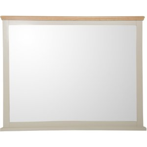 Oak Furniture Superstore Abel Oak And Stone Painted Wall Mirror ABEL WM, Stone