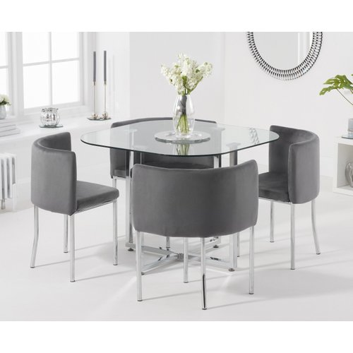 Oak Furniture Superstore Algarve Glass Stowaway Dining Table With Grey Velvet High Back Stools - Grey, 4 Chairs Pt30604, Grey