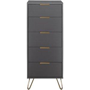 Oak Furniture Superstore Alo 5 Drawer Bedside In Grey Arl5nccha, Grey