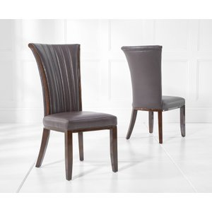 Oak Furniture Superstore Alpine Brown Leather Dining Chairs ALP BROWN 5279 17557, Brown