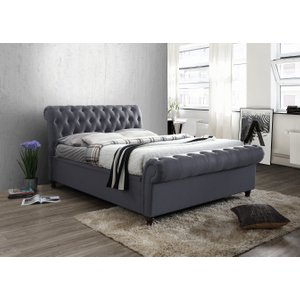 Oak Furniture Superstore Arkansas Charcoal King Size Side Ottoman Bed Casso5cha, Charcoal Grey
