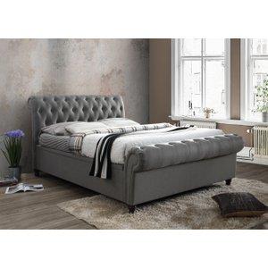 Oak Furniture Superstore Arkansas Grey King Size Side Ottoman Bed Casso5gry, Grey