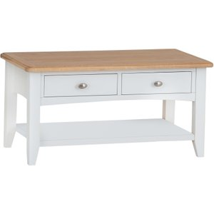 Oak Furniture Superstore Arlia Large Coffee Table Ar Lct W, Oak and White