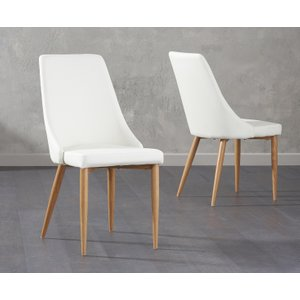 Oak Furniture Superstore Ashford White Faux Leather Dining Chairs Ash White Faux 7207 23852, White
