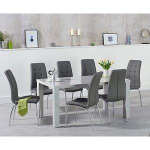 Oak Furniture Superstore Atlanta 160cm Light Grey High Gloss