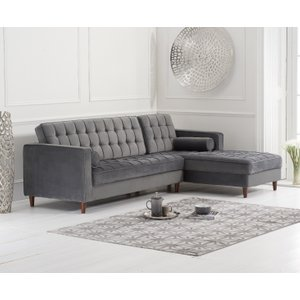 Fine Oak Furniture Superstore Ana Grey Velvet Right Facing Chaise Andrewgaddart Wooden Chair Designs For Living Room Andrewgaddartcom