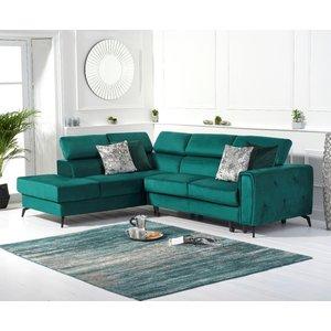 Oak Furniture Superstore Avery Green Velvet Left Hand Facing Corner Sofa Bed Pt31387, Green