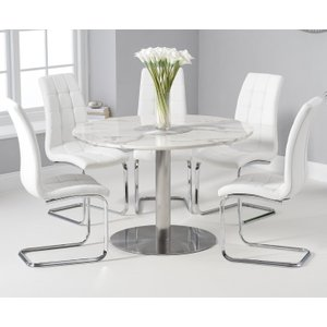 Oak Furniture Superstore Bali 120cm Round White Marble Dining Table With Lorin Dining Chairs - Grey, 2 Chairs PT32450, Grey