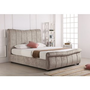 Oak Furniture Superstore Bosworth Stone Fabric Sleigh Ottoman Bed Em Bos Stone Bed