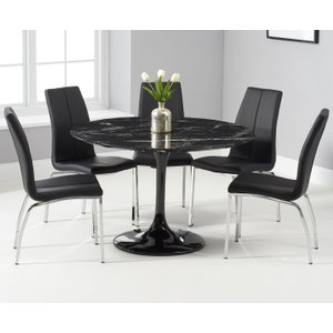 Oak Furniture Superstore Brighton 120cm Round Black Marble Dining Table With Cavello Dining Chairs - Ivory, 2 Chair PT31518JP, Ivory