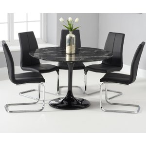 Oak Furniture Superstore Brighton 120cm Round Black Marble Dining Table With Tarin Dining Chairs - Black, 2 Chairs PT32457, Black
