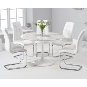 Oak Furniture Superstore Brighton 120cm Round White Marble Dining Table With Lorin Dining Chairs - Red, 2 Chairs PT32454, Red