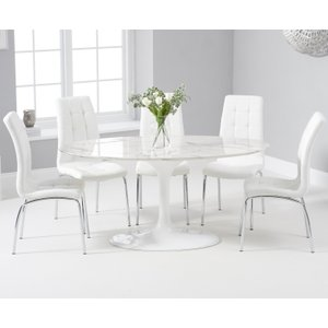 Oak Furniture Superstore Brighton 160cm Oval White Marble Dining Table With Calgary Dining Chairs - Grey, 4 Chairs PT32775JP, Grey