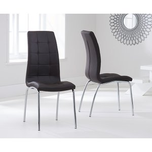 Oak Furniture Superstore Calgary Brown Faux Leather Dining Chairs CALGARY BROWN 4297 13643, Brown