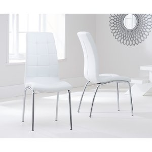 Oak Furniture Superstore Calgary Ivory White Faux Leather Dining Chairs CALGARY WHITE 4285 13574, White
