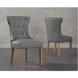 Oak Furniture Superstore Camille Grey Faux Leather Dining Chairs CAMILLE GREY FAUX 8523 27917, Grey