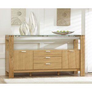 Oak Furniture Superstore Cannes 160cm Oak And Glass Sideboard PT29721MA