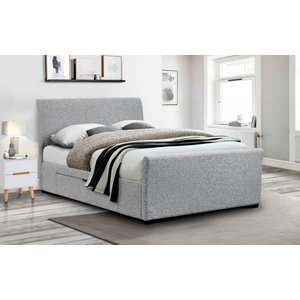 Oak Furniture Superstore Capra Fabric Super King Bed With Drawers In Light Grey Cap010, Light Grey