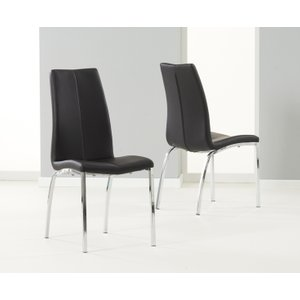 Oak Furniture Superstore Cavello Black Faux Leather Dining Chairs CAV BLACK CHAIRS 4217 29553, Black