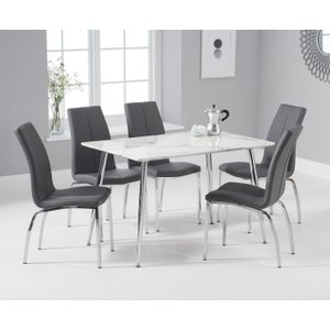 Oak Furniture Superstore Cecily 120cm High Gloss Carrera Grey Dining Table With Cavello Dining Chairs - Black, 4 Ch PT31519JP, Black