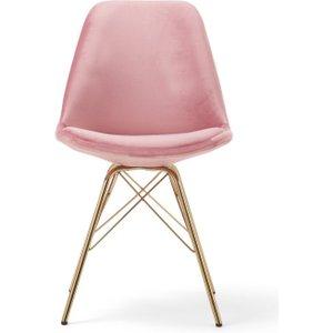 Oak Furniture Superstore Celine Blush Velvet Gold Leg Dining Chairs - Blush, 2 Chairs Pt30633, Blush