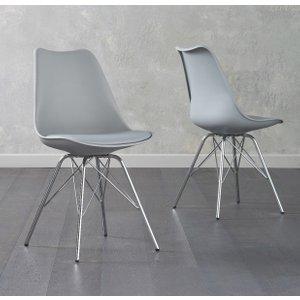 Oak Furniture Superstore Celine Light Grey Faux Leather Chrome Leg Dining Chairs CEL LIGHTGREY 7503 25140, Light Grey