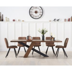 Oak Furniture Superstore Chateau 180cm Black Leg Industrial Dining Table With Dexter Faux Leather Dining Chairs - G Pt30053, Grey