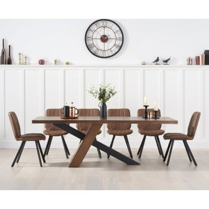 Oak Furniture Superstore Chateau 225cm Black Leg Dining Table With Dexter Faux Leather Dining Chairs - Grey, 4 Chai PT30053, Grey