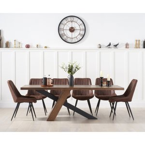 Oak Furniture Superstore Chateau 225cm Black Leg Industrial Dining Table With Marcel Antique Dining Chairs - Brown, Pt30257, Brown
