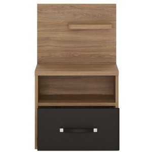 Oak Furniture Superstore Coastal 1 Drawer Bedside With Right Hand Open Shelf 4309767, Oak and Black