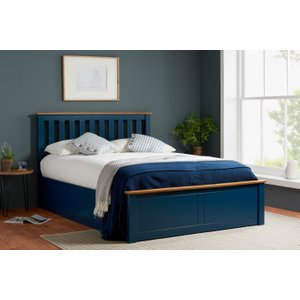 Oak Furniture Superstore Detroit Navy King Size Ottoman Bed Photb5nav, Blue