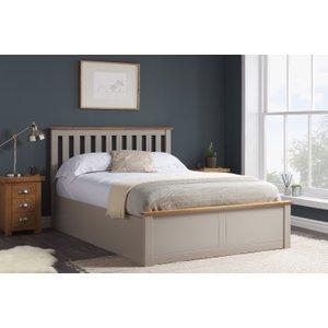 Oak Furniture Superstore Detroit Pearl Grey King Size Ottoman Bed Photb5pegv2, Grey