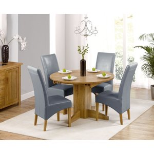 Oak Furniture Superstore Dorchester 120cm Solid Oak Round Extending Dining Table With Cannes Chairs - Brown, 4 Chai Pt29782, Brown